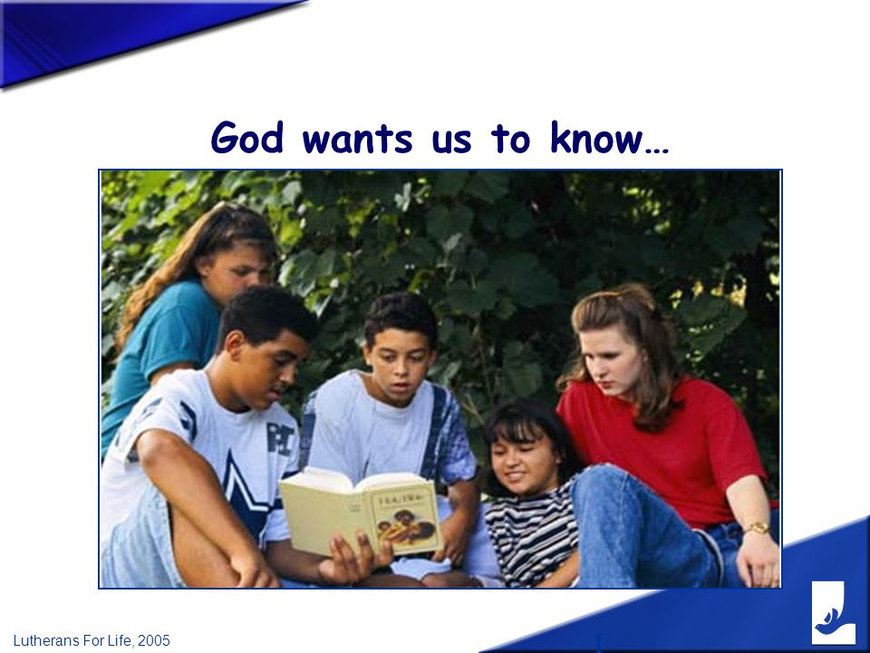 F Lutherans For Life, 2005 God wants us to know…