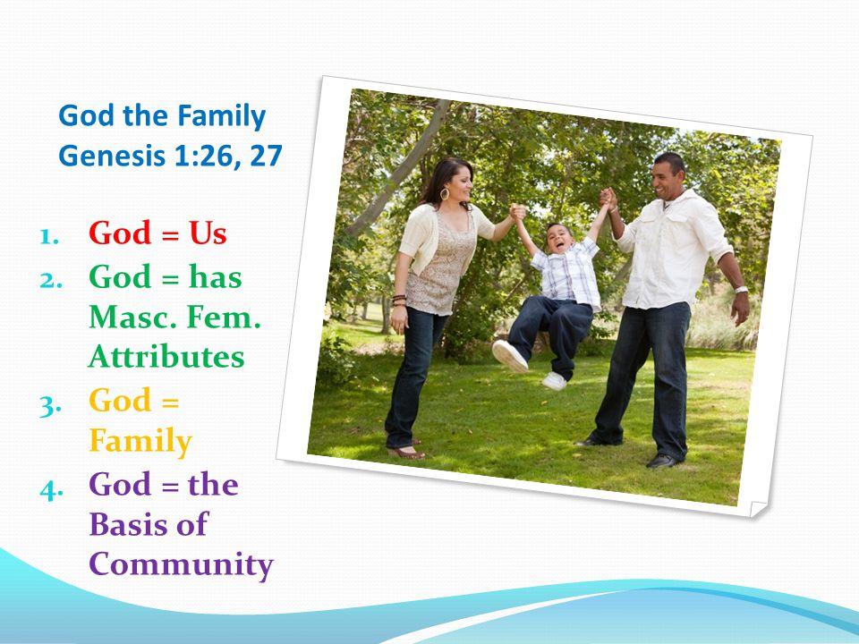 God the Family Genesis 1:26, 27 1. God = Us 2. God = has Masc.