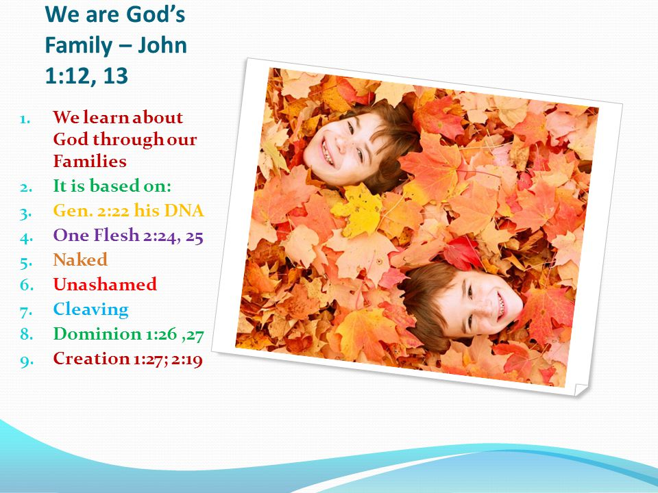We are God's Family – John 1:12, 13 1. We learn about God through our Families 2.