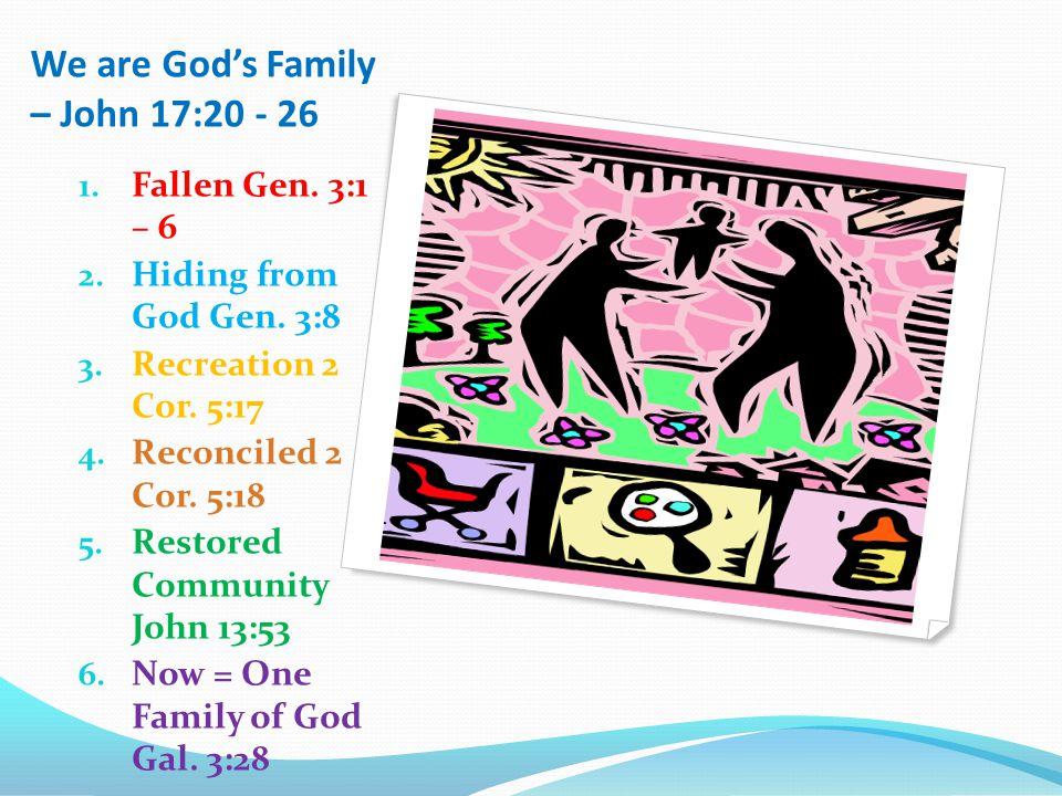 We are God's Family – John 17:20 - 26 1. Fallen Gen.