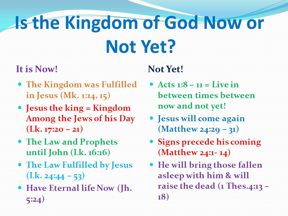 Is the Kingdom of God Now or Not Yet. It is Now. Not Yet.