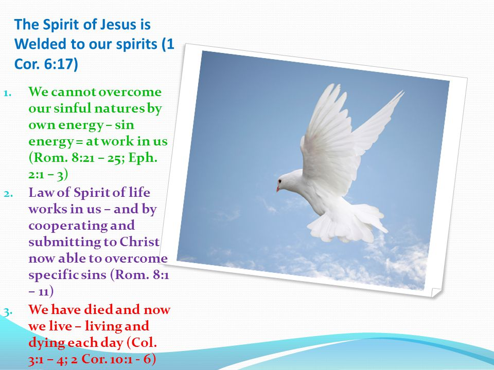 The Spirit of Jesus is Welded to our spirits (1 Cor.