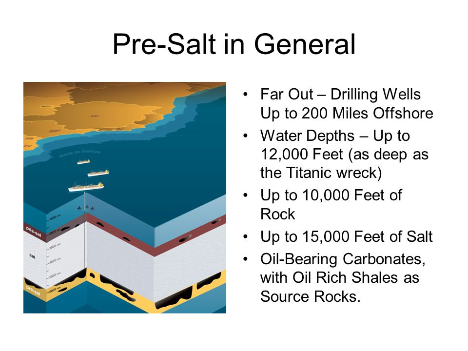 Pre-Salt in General Far Out – Drilling Wells Up to 200 Miles Offshore Water Depths – Up to 12,000 Feet (as deep as the Titanic wreck) Up to 10,000 Feet of Rock Up to 15,000 Feet of Salt Oil-Bearing Carbonates, with Oil Rich Shales as Source Rocks.