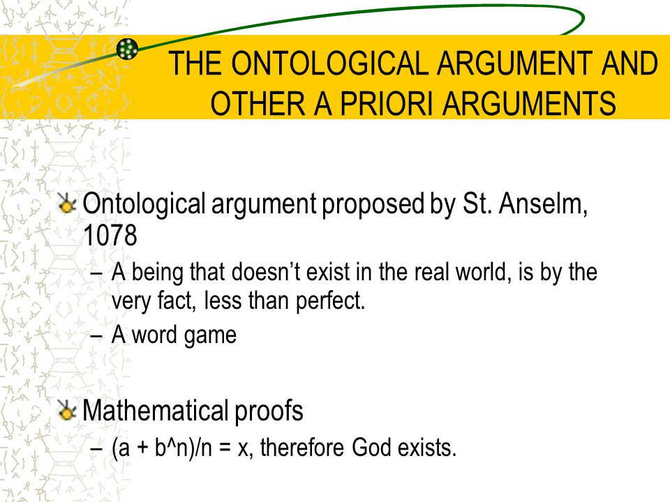 THE ONTOLOGICAL ARGUMENT AND OTHER A PRIORI ARGUMENTS Ontological argument proposed by St.