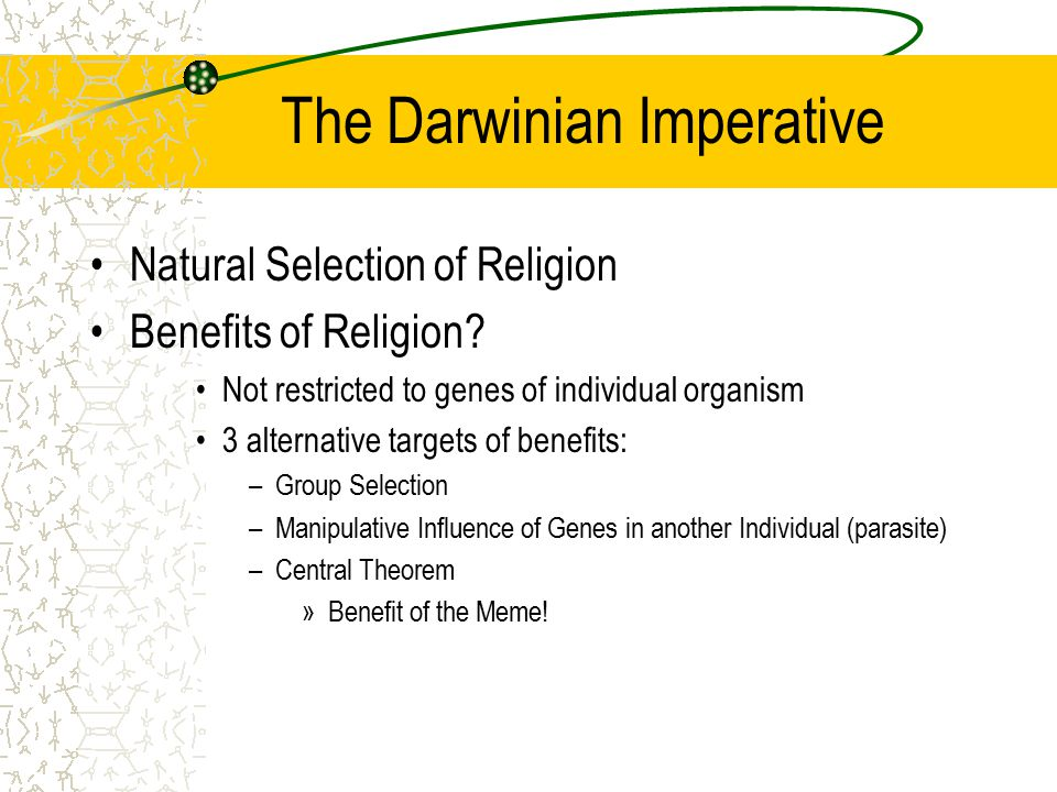 The Darwinian Imperative Natural Selection of Religion Benefits of Religion.