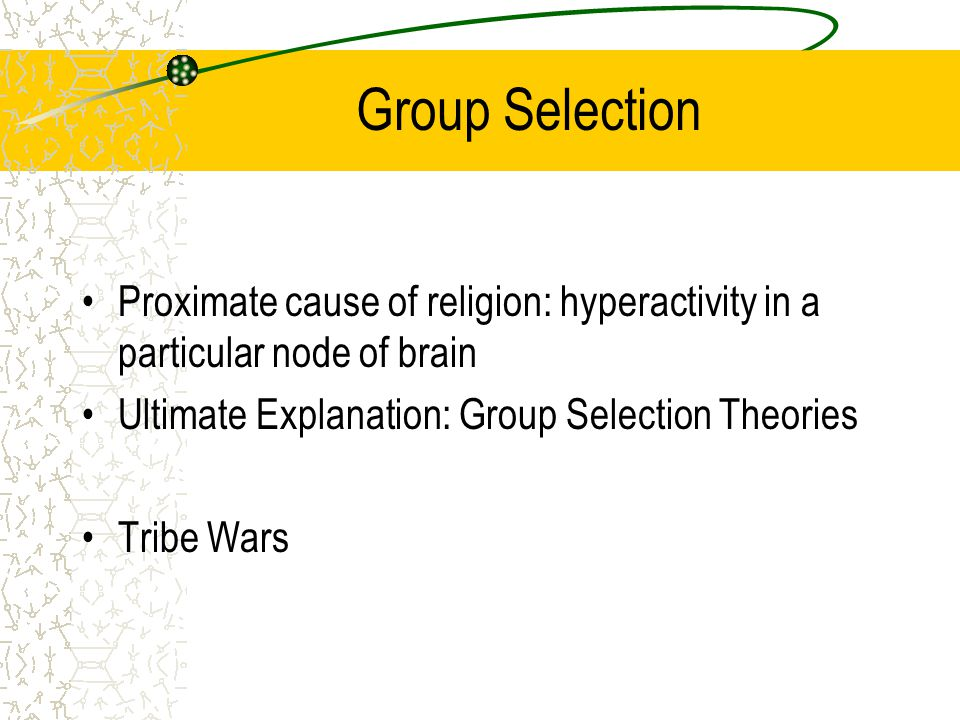 Group Selection Proximate cause of religion: hyperactivity in a particular node of brain Ultimate Explanation: Group Selection Theories Tribe Wars