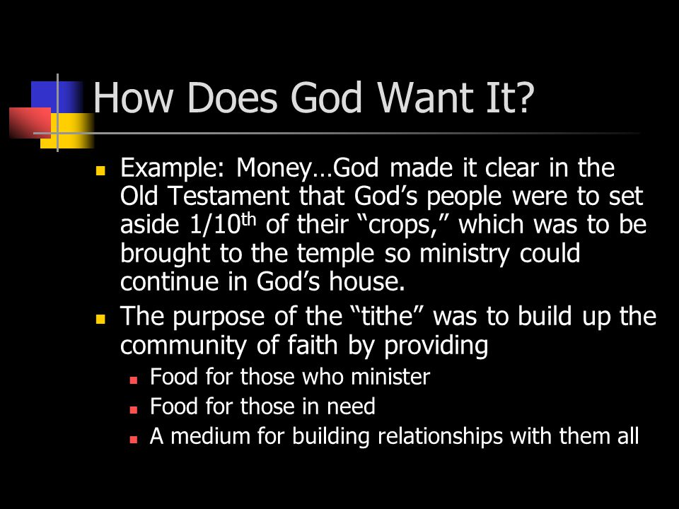 How Does God Want It.