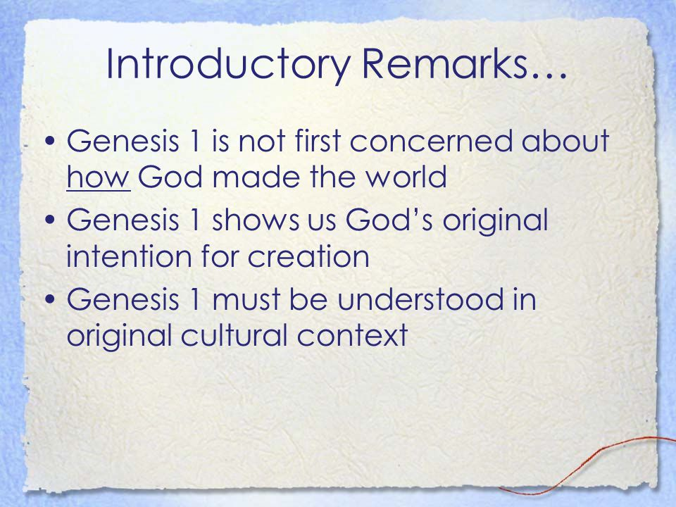 In the Beginning by David Goodrich In the beginning God… Who is this God?
