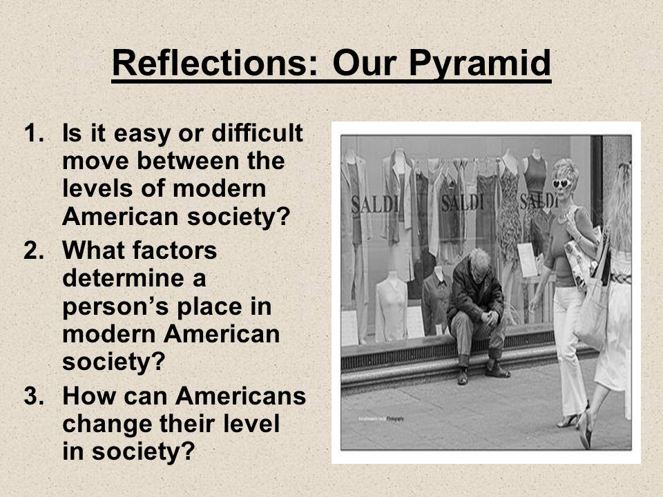 Reflections: Our Pyramid 1.Is it easy or difficult move between the levels of modern American society.