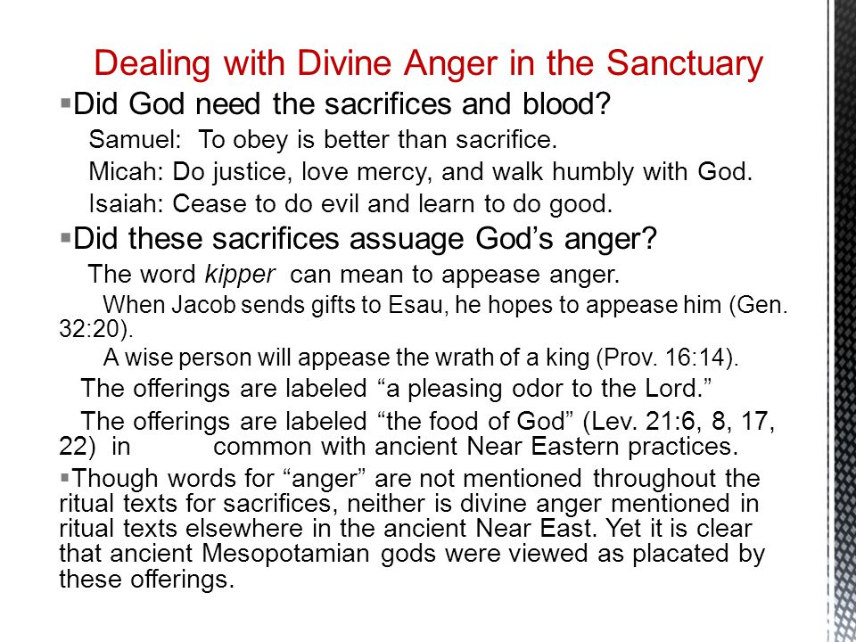 Dealing with Divine Anger in the Sanctuary  Did God need the sacrifices and blood.