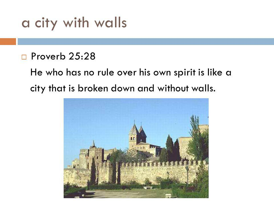 a city with walls  Proverb 25:28 He who has no rule over his own spirit is like a city that is broken down and without walls.