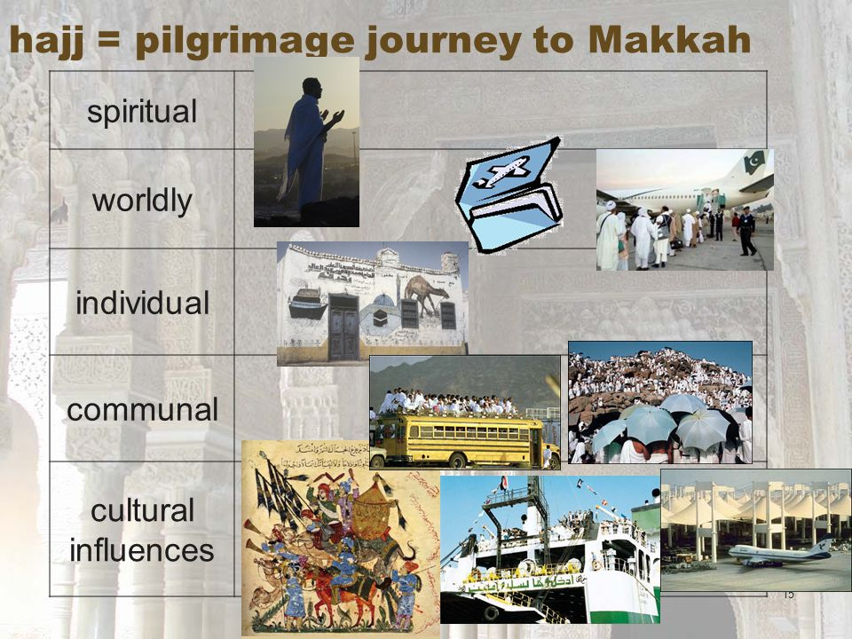 15 hajj = pilgrimage journey to Makkah spiritual worldly individual communal cultural influences