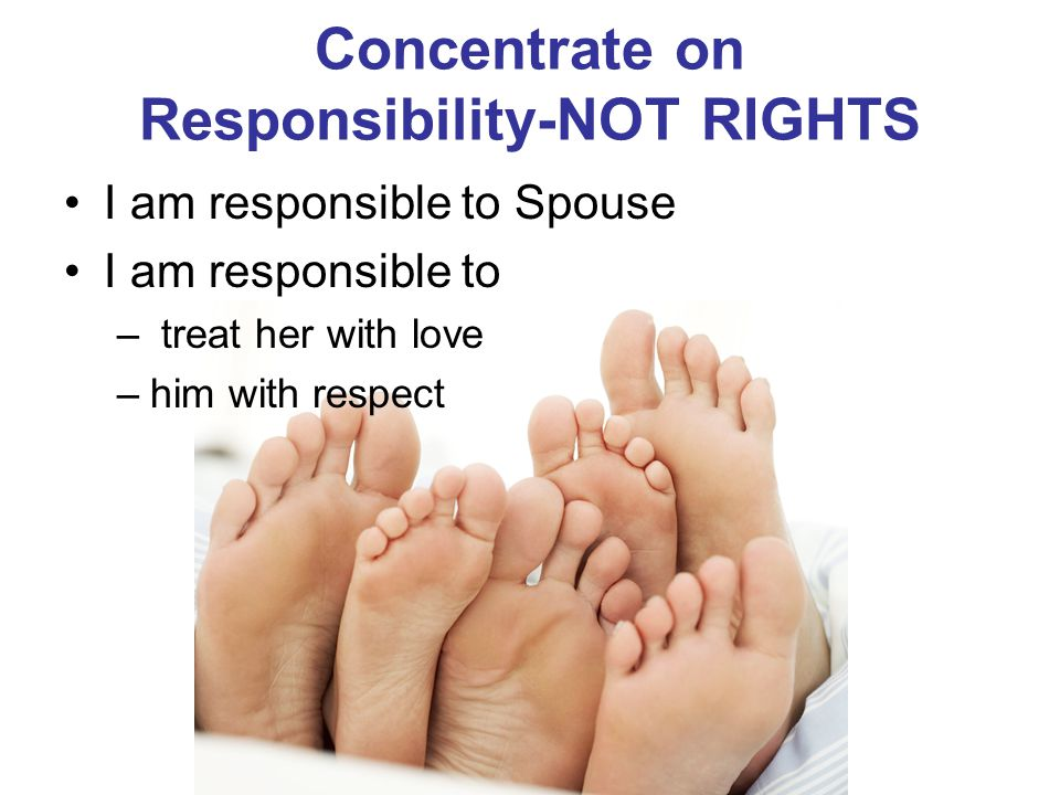 Concentrate on Responsibility-NOT RIGHTS I am responsible to Spouse I am responsible to – treat her with love –him with respect