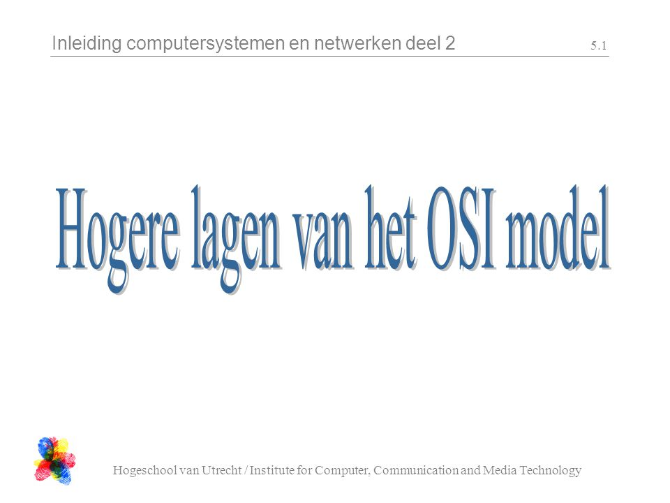 Inleiding computersystemen en netwerken deel 2 Hogeschool van Utrecht / Institute for Computer, Communication and Media Technology 5.1