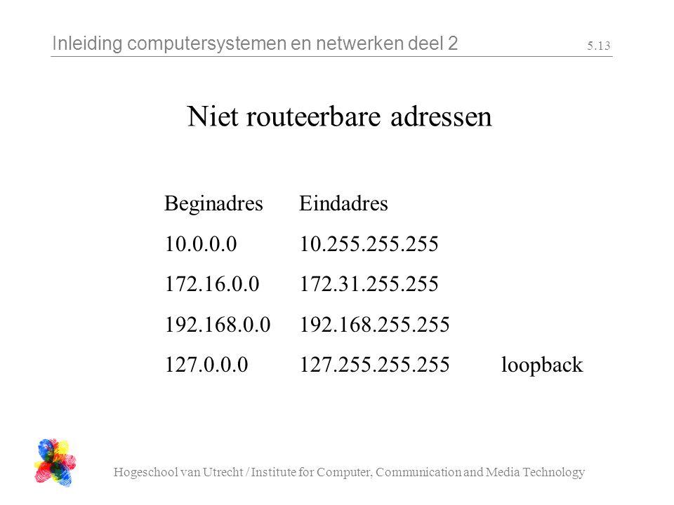 Inleiding computersystemen en netwerken deel 2 Hogeschool van Utrecht / Institute for Computer, Communication and Media Technology 5.13 Niet routeerbare adressen BeginadresEindadres 10.0.0.010.255.255.255 172.16.0.0172.31.255.255 192.168.0.0192.168.255.255 127.0.0.0127.255.255.255loopback
