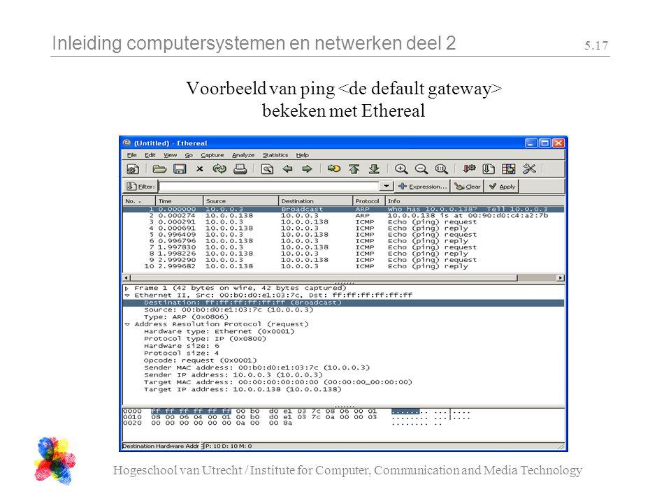 Inleiding computersystemen en netwerken deel 2 Hogeschool van Utrecht / Institute for Computer, Communication and Media Technology 5.17 Voorbeeld van ping bekeken met Ethereal