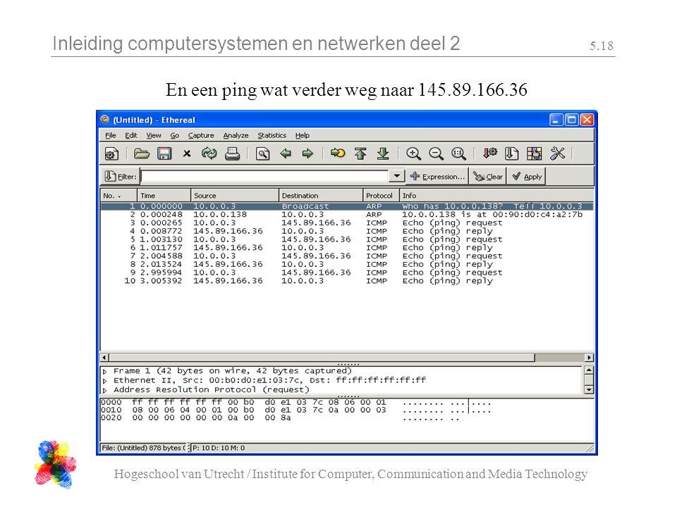Inleiding computersystemen en netwerken deel 2 Hogeschool van Utrecht / Institute for Computer, Communication and Media Technology 5.18 En een ping wat verder weg naar 145.89.166.36