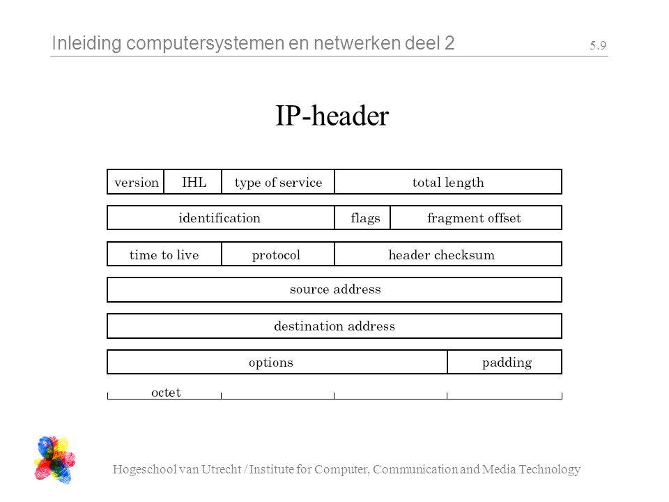 Inleiding computersystemen en netwerken deel 2 Hogeschool van Utrecht / Institute for Computer, Communication and Media Technology 5.9 IP-header
