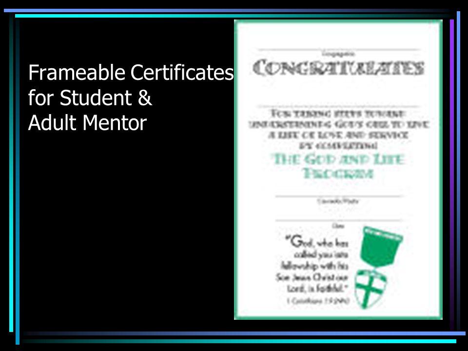 Frameable Certificates for Student & Adult Mentor