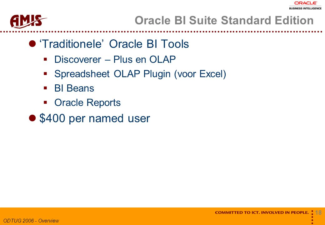 18 ODTUG 2006 - Overview Oracle BI Suite Standard Edition 'Traditionele' Oracle BI Tools  Discoverer – Plus en OLAP  Spreadsheet OLAP Plugin (voor Excel)  BI Beans  Oracle Reports $400 per named user