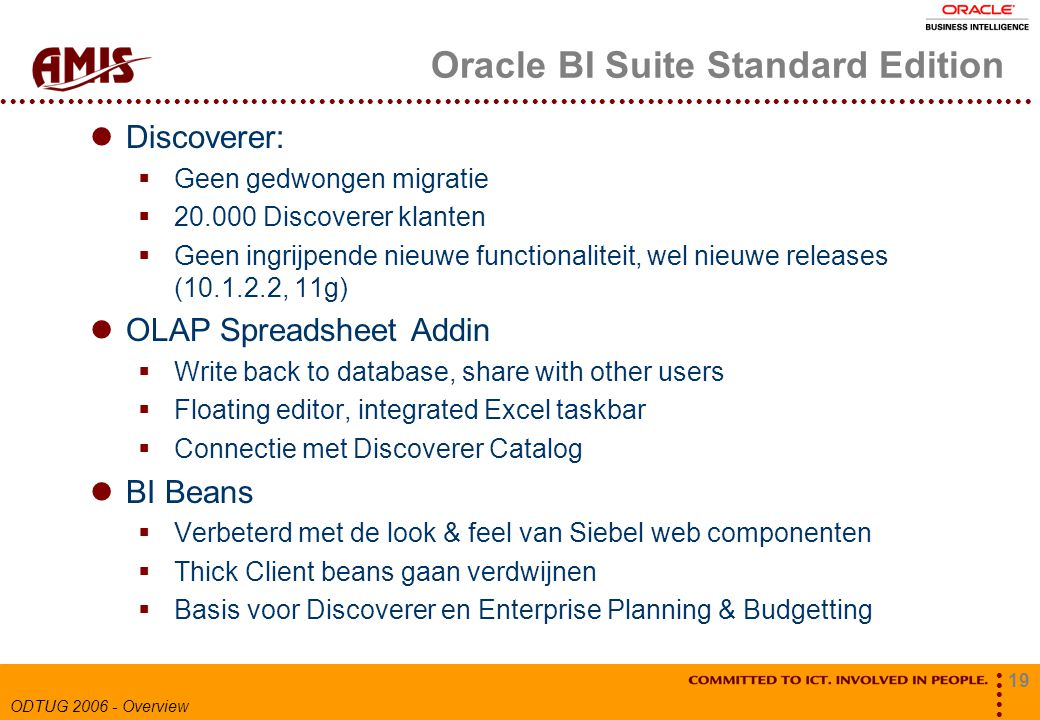 19 ODTUG 2006 - Overview Oracle BI Suite Standard Edition Discoverer:  Geen gedwongen migratie  20.000 Discoverer klanten  Geen ingrijpende nieuwe functionaliteit, wel nieuwe releases (10.1.2.2, 11g) OLAP Spreadsheet Addin  Write back to database, share with other users  Floating editor, integrated Excel taskbar  Connectie met Discoverer Catalog BI Beans  Verbeterd met de look & feel van Siebel web componenten  Thick Client beans gaan verdwijnen  Basis voor Discoverer en Enterprise Planning & Budgetting