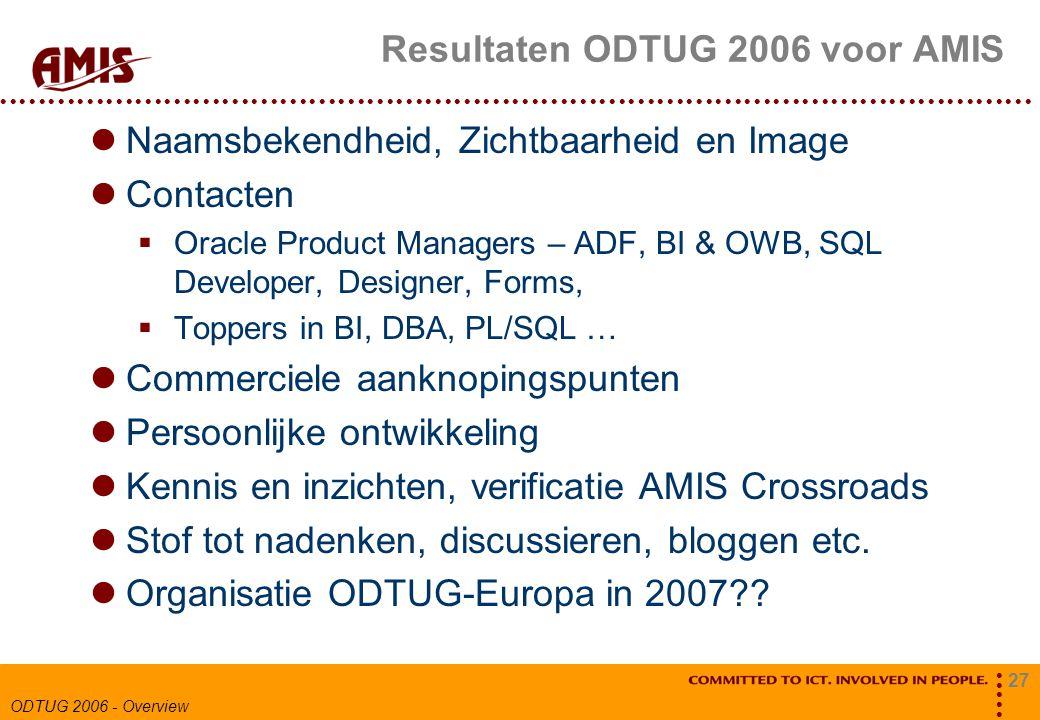 27 ODTUG 2006 - Overview Resultaten ODTUG 2006 voor AMIS Naamsbekendheid, Zichtbaarheid en Image Contacten  Oracle Product Managers – ADF, BI & OWB, SQL Developer, Designer, Forms,  Toppers in BI, DBA, PL/SQL … Commerciele aanknopingspunten Persoonlijke ontwikkeling Kennis en inzichten, verificatie AMIS Crossroads Stof tot nadenken, discussieren, bloggen etc.
