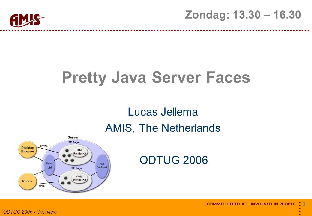 3 ODTUG 2006 - Overview Pretty Java Server Faces Lucas Jellema AMIS, The Netherlands ODTUG 2006 Zondag: 13.30 – 16.30