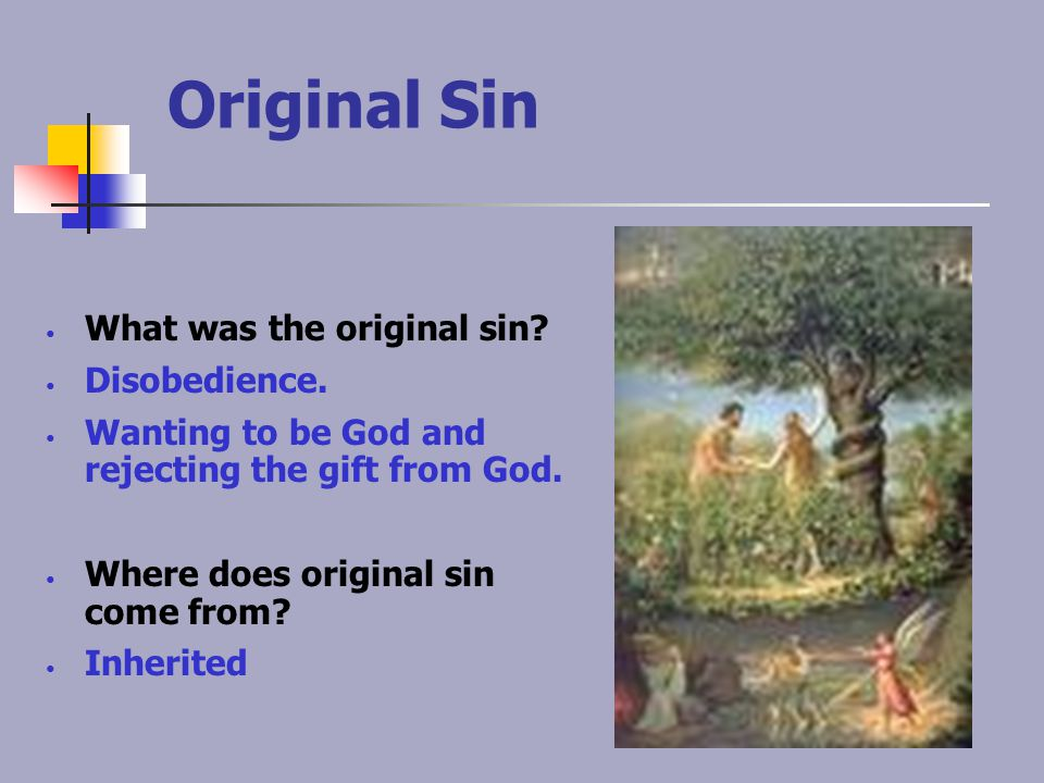Original Sin What was the original sin? Disobedience. Wanting to be God and rejecting the gift from God. Where does original sin come from? Inherited