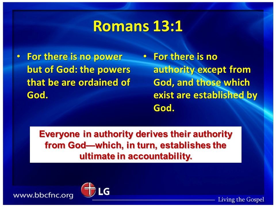 Romans 13:1 For there is no power but of God: the powers that be are ordained of God.