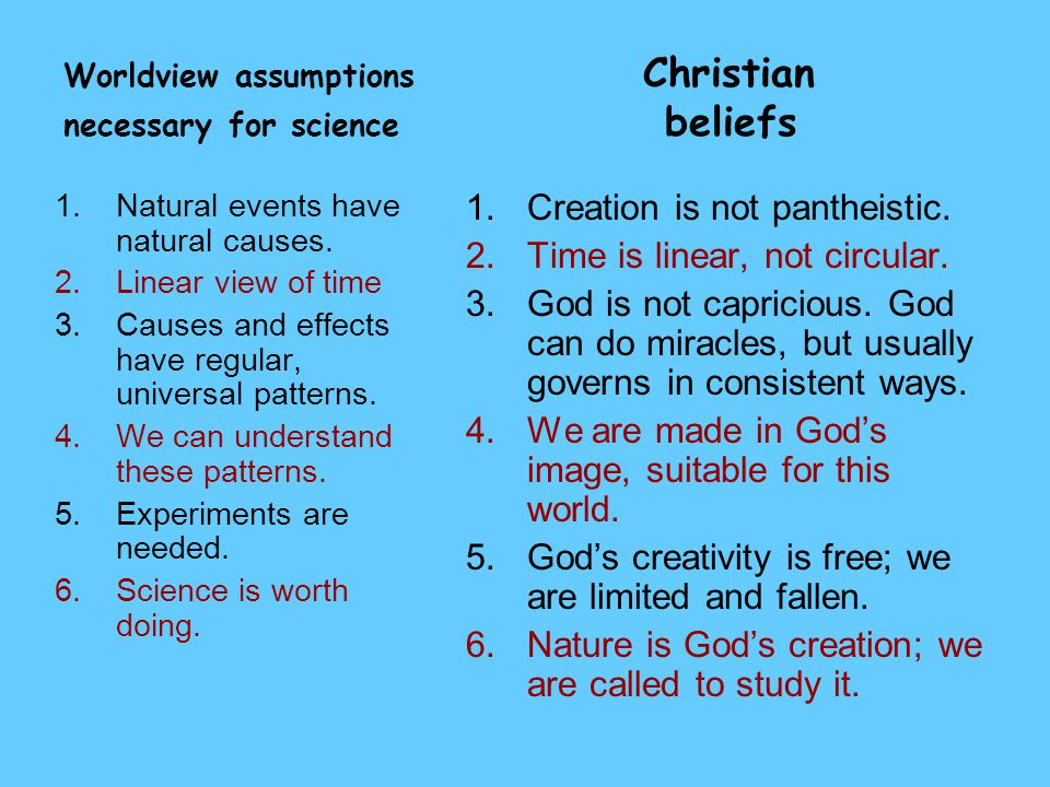Worldview assumptions Christian necessary for science beliefs 1.Natural events have natural causes. 2.Linear view of time 3.Causes and effects have re