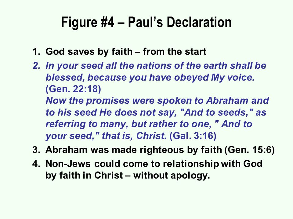 Figure #4 – Paul's Declaration 1.God saves by faith – from the start 2.In your seed all the nations of the earth shall be blessed, because you have obeyed My voice.