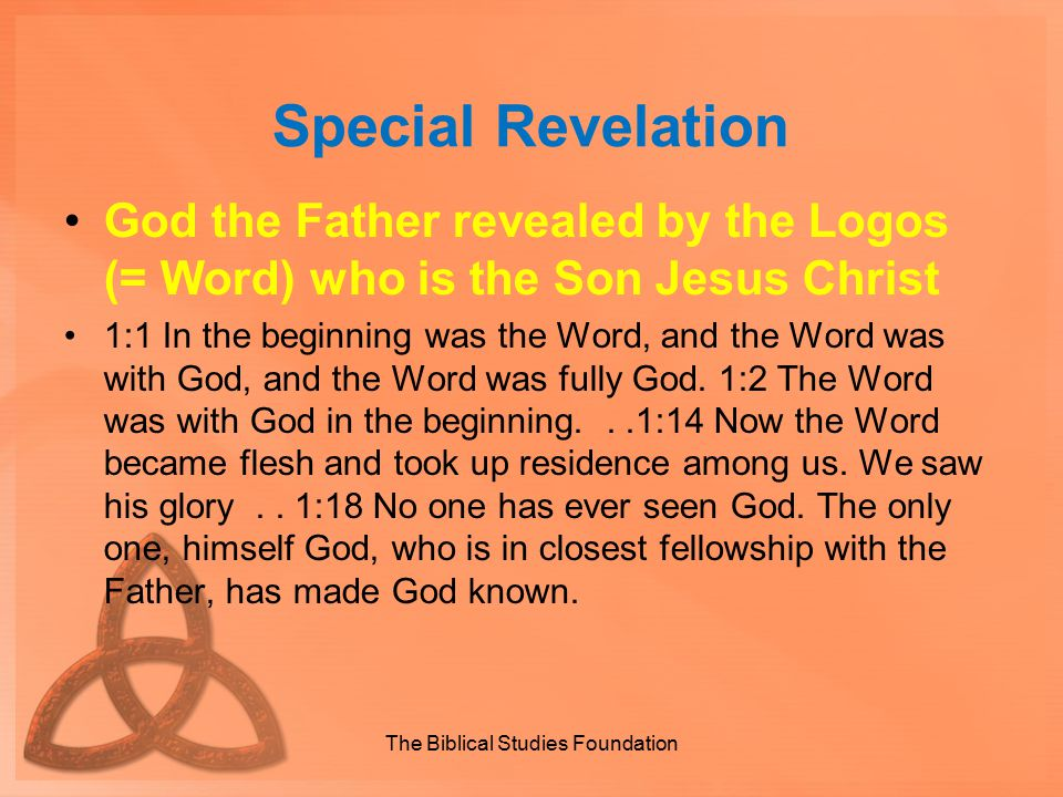Special Revelation God the Father revealed by the Logos (= Word) who is the Son Jesus Christ 1:1 In the beginning was the Word, and the Word was with