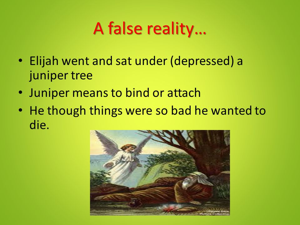 A false reality… Elijah went and sat under (depressed) a juniper tree Juniper means to bind or attach He though things were so bad he wanted to die.