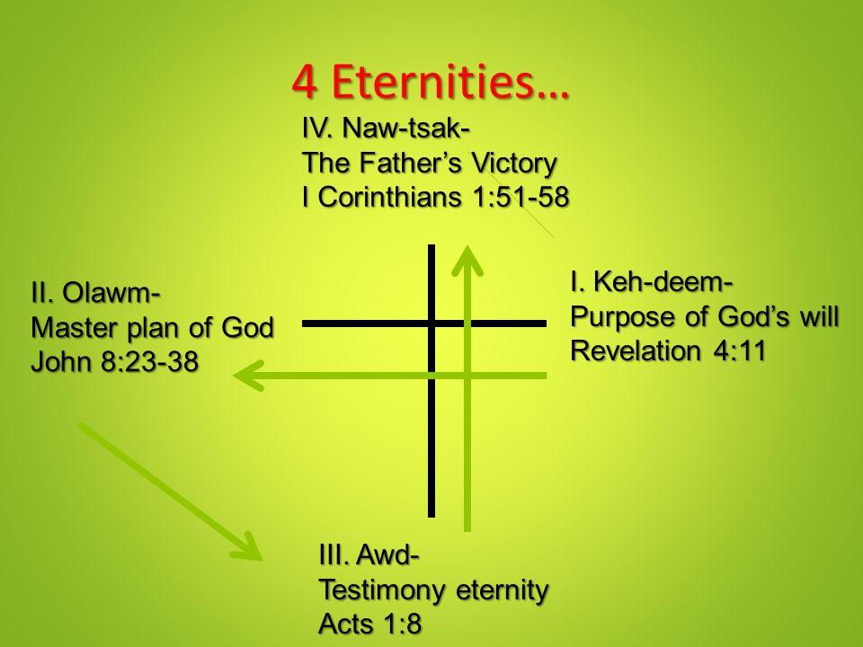 4 Eternities… I.Keh-deem- Purpose of God's will Revelation 4:11 II.