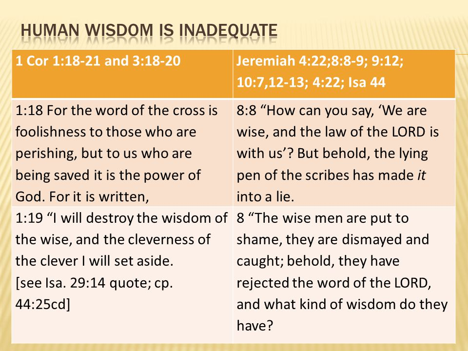1 Cor 1:18-21 and 3:18-20 Jeremiah 4:22;8:8-9; 9:12; 10:7,12-13; 4:22; Isa 44 1:18 For the word of the cross is foolishness to those who are perishing
