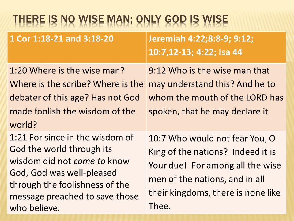 1 Cor 1:18-21 and 3:18-20 Jeremiah 4:22;8:8-9; 9:12; 10:7,12-13; 4:22; Isa 44 1:20 Where is the wise man? Where is the scribe? Where is the debater of