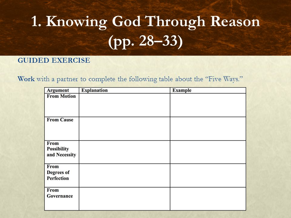 """GUIDED EXERCISE Work with a partner to complete the following table about the """"Five Ways."""" 1. Knowing God Through Reason (pp. 28–33)"""