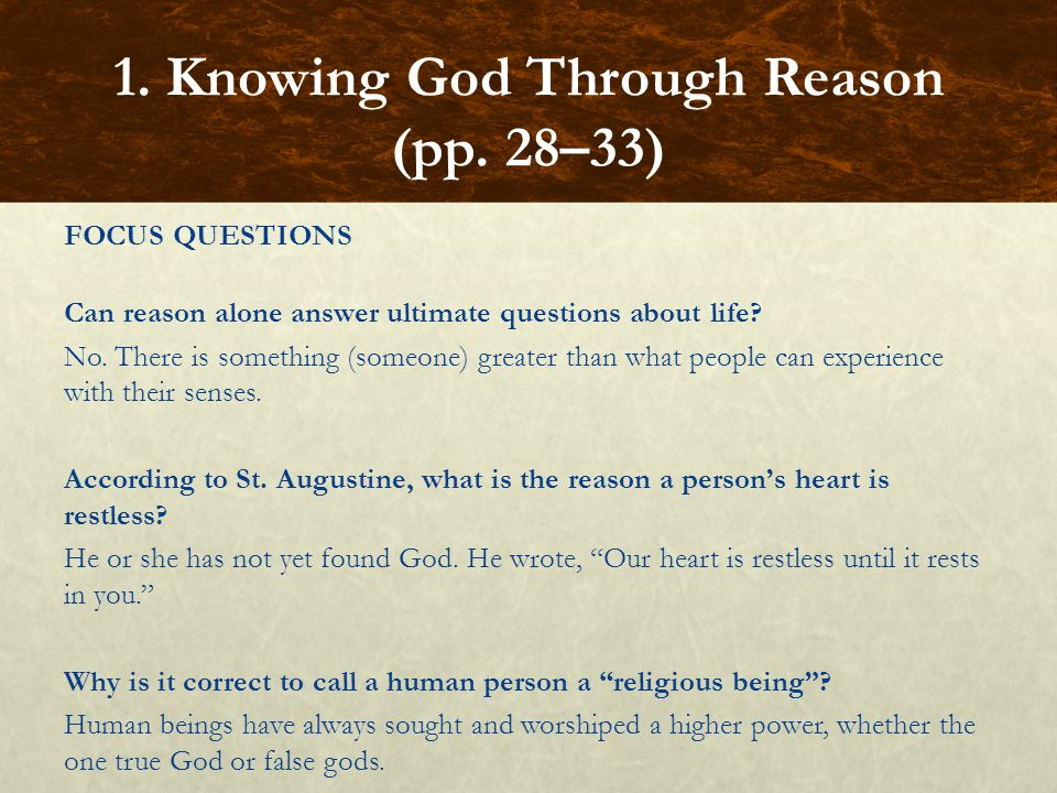 FOCUS QUESTIONS What is the allegorical sense of Scripture.
