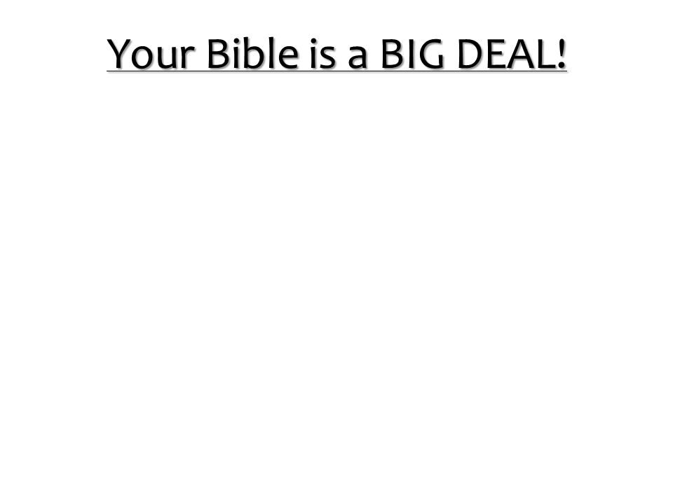 Your Bible is a BIG DEAL!