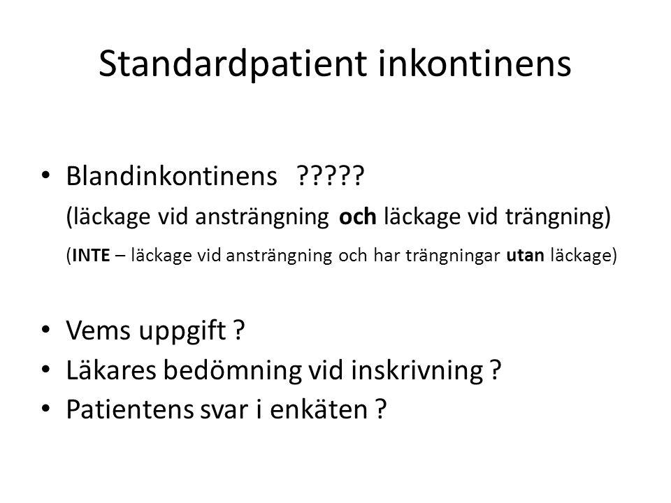Standardpatient inkontinens Blandinkontinens ????.