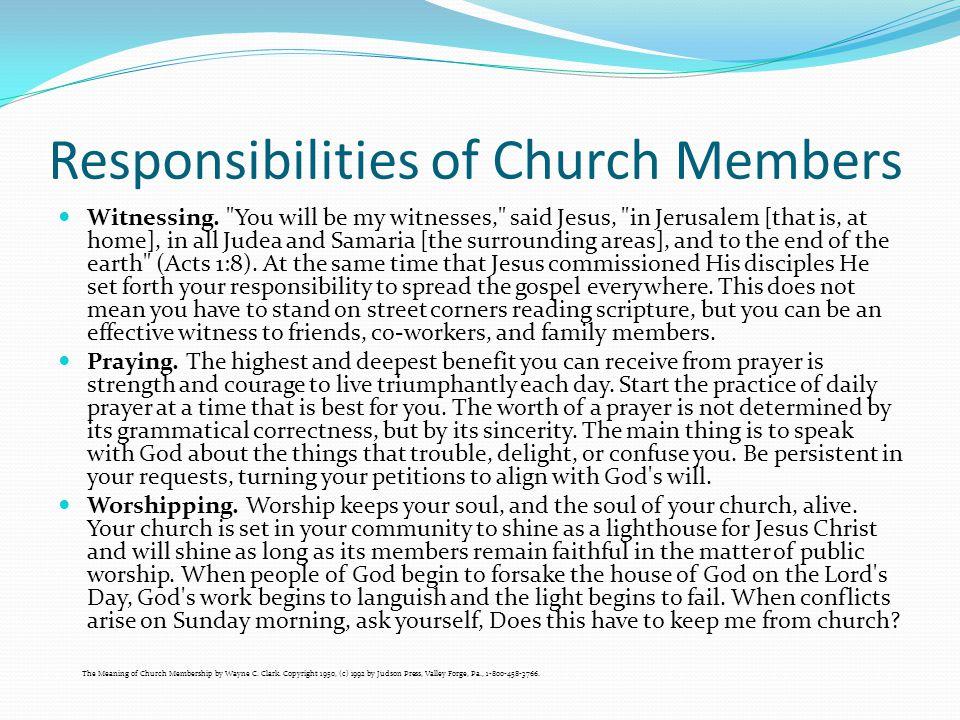 Responsibilities of Church Members Witnessing.