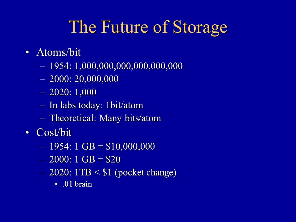 The Future of Storage Atoms/bitAtoms/bit –1954: 1,000,000,000,000,000,000 –2000: 20,000,000 –2020: 1,000 –In labs today: 1bit/atom –Theoretical: Many bits/atom Cost/bitCost/bit –1954: 1 GB = $10,000,000 –2000: 1 GB = $20 –2020: 1TB < $1 (pocket change).01 brain.01 brain