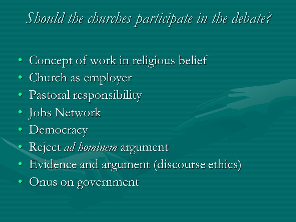 Concept of work in religious beliefConcept of work in religious belief Church as employerChurch as employer Pastoral responsibilityPastoral responsibi