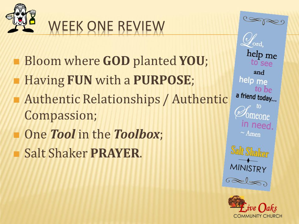Bloom where GOD planted YOU; Having FUN with a PURPOSE; Authentic Relationships / Authentic Compassion; One Tool in the Toolbox; Salt Shaker PRAYER.