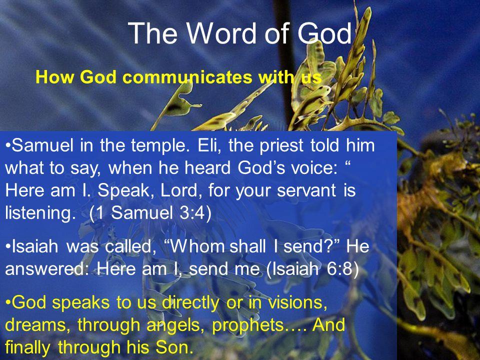 22 The Word of God How God communicates with us Samuel in the temple.