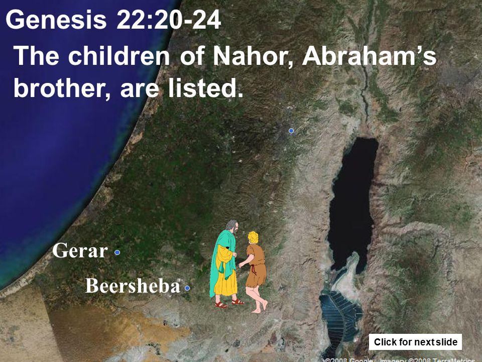 Gerar Beersheba Genesis 22:19 Abraham returns to his servants and they go to Beersheba.