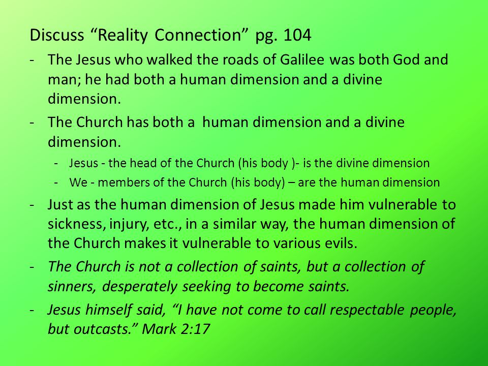 Discuss Reality Connection pg.