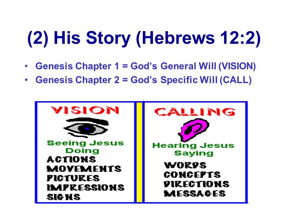(2) His Story (Hebrews 12:2) Genesis Chapter 1 = God's General Will (VISION) Genesis Chapter 2 = God's Specific Will (CALL)