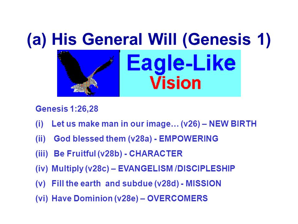 From A To Z Z = General Will (Vision) – Sonship,glory, His Image A,B,C.= Specific Will (Calling)- Steps of faith (Eph 2:10) For Abraham…..