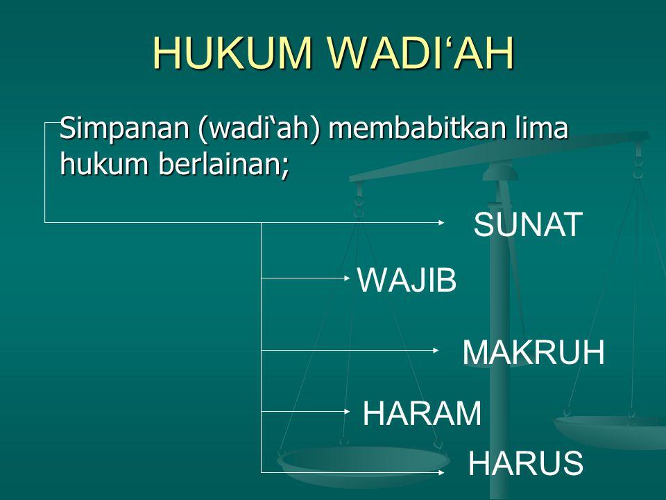 HUKUM WADI'AH Simpanan (wadi'ah) membabitkan lima hukum berlainan; SUNAT WAJIB MAKRUH HARAM HARUS